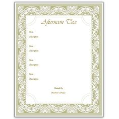 Vintage afternoon tea menu template google search high for Tea party menu template