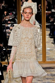 Loving the vintage lace Marchesa Fall 2012