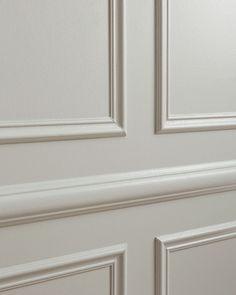 Panel Moulding, Wall Molding, Moldings And Trim, Light Grey Paint Colors, Greige Paint Colors, Beige Paint, Boutique Interior, Raised Panel Walls, Living Room Designs