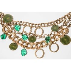 Pre-owned Oscar de la Renta 18 kt Gold Plated Chain with Green Drops... ($550) ❤ liked on Polyvore featuring jewelry, necklaces, graduation jewelry, long chain necklace, green necklace, chain bib necklace and 18k gold plated necklace