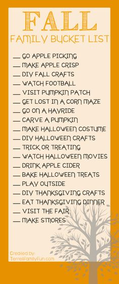 Check off all the items on this Fall Family Bucket List from Terrell Family Fun to enjoy everything the autumn season offers.