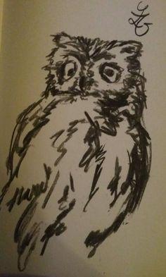 Uil uitvoering houtskool / owl charcoal drawing