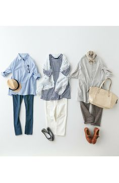 pined by nidnirand 2014 June*Fashion collection[ファッションコレクション]|GOOD DAYS with GOOD CLOTHES ギンガムとボーダーとストライプのコーディネイトセットの会(3回限定コレクション)|フェリシモ
