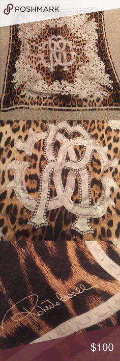 Roberto Cavalli cheetah silk scarf Roberto Cavalli leopard print square scarf. 100% silk. Wore one time only - basically new Roberto Cavalli Accessories Scarves & Wraps