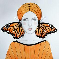 Anais #anais #portrait #art #butterfly #ink #mariposa #soffronia #illustration by soffronia