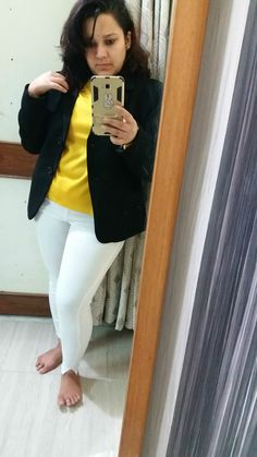 White pants black blazer
