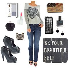 """""""You are Beautiful"""" by bulletblues on Polyvore www.bulletbluesca.com #jeans #madeinUSa #fashion #BulletBlues"""