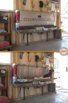 Need an extra chair or table in your garage? Or put it facing outside for a way to have a tailgate party at home.