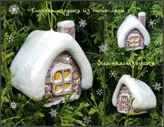 Зимняя избушка (домик) Новогодняя игрушка из папье-маше Цена 2500 руб./1 шт