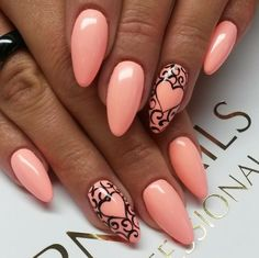 pink and black heart stiletto nails Pink Black Nails, Gold Glitter Nails, Orange Nails, Sharp Nails, Valentine Nail Art, Pink Manicure, Almond Acrylic Nails, Nail Polish Art, Toe Nail Designs