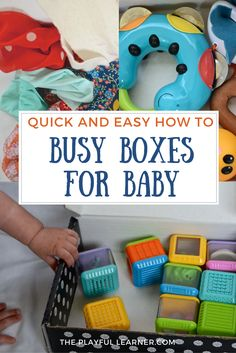 Busy boxes and busy bags are good for, as the name implies, keeping children busy. Here are 4 quick and easy busy boxes that have been entertaining my baby. This box is full of noise makers.