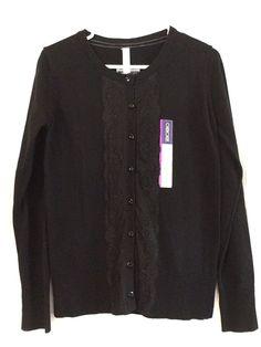 Cherokee Cardigan Lace Cotton Size XL Button Front Black Long Sleeve NWT #Cherokee #Cardigan #DressyEverydayHolidayParty