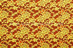 Spandex World - Stretch Lace (Neon Orange/Chartreuse)