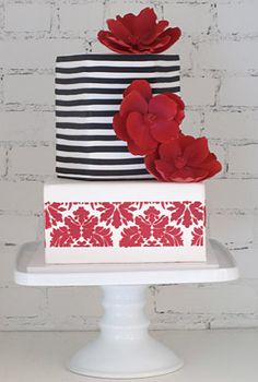 Modern black, white & red cake