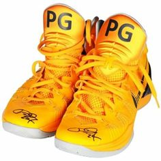 Paul George Indiana Pacers Autographed Game-Used Gold with Navy Shoes with Tongue