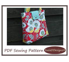 Retro Handbag Sewing Pattern PN301 Large Retro Style Bag with Closure Options on Etsy, $7.99