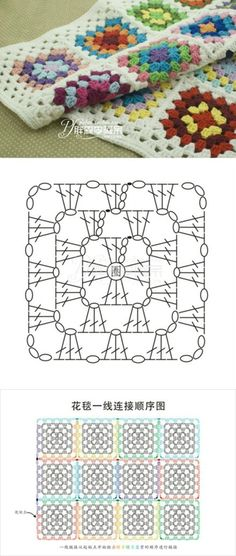 Crochet granny square pattern diagram afghans 40 ideas for 2019 Motifs Granny Square, Sunburst Granny Square, Granny Square Blanket, Granny Square Crochet Pattern, Crochet Diagram, Crochet Squares, Crochet Granny, Crochet Blanket Patterns, Crochet Stitches
