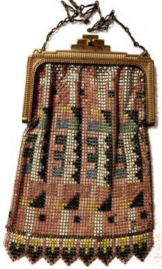 1920'S ENAMELED METAL MESH FLAPPER HAND BAG  PURSE ...W & D.
