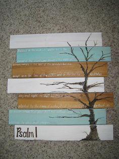 Articoli simili a Dipinto albero basata sul Salmo 1 (dipinta su tavole di pino) su Etsy
