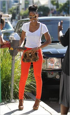 Cute, Comfy, Stylish, and Colorful!! White Tee with Orange Skinnies and Cognac Wedges!