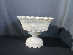 Westmoreland Milkglass Punch Bowl, Pedestal Base with 14 Cups and Ladle-Grape Leave Pattern, Holiday Tables, Pedestal, Punch Bowls, Pottery, Antiques, Glass, Milk, Wedding