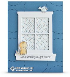 "CARD: The World Just Got Cuter Kitty Card | Stampin Up Demonstrator - Tami White ——— S U P P L I E S ———  • Made With Love Photopolymer Stamp Set #138662 • Perfectly Wrapped Photopolymer Stamp Set	141960 • Dapper Denim 8-1/2"" X 11"" Cardstock	141414 • Whisper White 8-1/2X11 Card Stock #100730 • Serene Scenery Designer Series Paper Stack #141642 • Soft Sky Classic Stampin' Pad #131181 • Dapper Denim Classic Stampin' Pad	141394 • Peekaboo Peach Classic Stampin' Pad	141398 • Hearth & Home Thinli..."