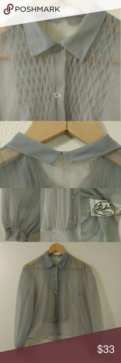 Vintage 40s Paulwin Sheer Blouse Pale blue sheer blouse with clear faceted buttons, collar with Peter Pan detail at back, and gathered full sleeves. Original tag from the Paulwin brand, known for its delicate pin-tuck bodices as seen here.  No size tag, size is an estimate. Measurements available on request. Vintage Tops Blouses