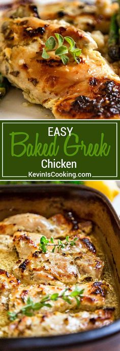 This amazingly delicious Easy Baked Greek Chicken starts with a marinade of lemon, garlic, oregano, olive oil, pepper flakes and thick Greek yogurt. So good!