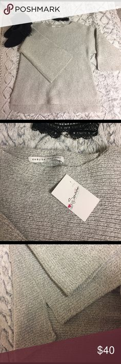 English Factory - Wide Sleeve, Fluffy Sweater Brand new w/ tags! This fuzzy, fluffy sweater is too perfect to be sitting in a closet. The knitted sweater has a loose fit with wide sleeves . English Factory Sweaters Crew & Scoop Necks