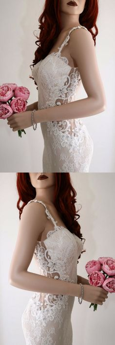 Wedding dress/ Lace wedding dress/ Backless wedding dress/ Boho wedding dress/ Sexy wedding dress/Illusion back wedding dress #weddingideas #ad #weddingdresses #bohoweddingdress #laceweddingdresses