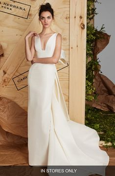 13ad30c48759 Carolina Herrera Aubrey Silk Faille Column Gown available at #Nordstrom Wedding  Dresses With Bows,