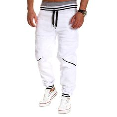 2017 Brand New Fashion Mens Joggers Pants Elastic Waist Loose Cotton Sweatpants Male Casual Long Trousers Pantalon Homme