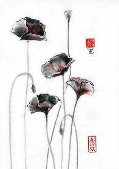 Original Art Poppy Japanese sumi-e wash painting by ZenPresent