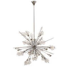 """Austrian Chrome & Swarovski Crystal Sputnik Chandelier by Lobmeyer, circa 1980 