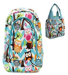Owl Print Blue Chevron Blue Trim Backpack W Matching Lunch Bag - Handbags, Bling & More!