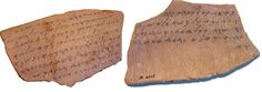"Pieces of clay with writing on them are called ostraca. The word comes from the Greek ostrakon, meaning ""shell, sherd."" Most ostraca were written with ink, but some were incised with a sharp instrument. School lessons, short letters, receipts, and other administrative documents were written on these clay sherds.           The greatest numbers are pieces of clay or scraps of pots inscribed with colors or ink. The oldest Christian ostraca, like the papyri, are Greek and date from the"