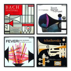 A 4-piece collection of designs featuring Modernist renderings of trumpets: Tchaikovsky: Symphony No. 6 in B Minor, Op. 74 By A.F. Arnold (circa 1965), Bach Festival by Rudolph de Harak (1956), Fever! by George Giusti (1966), and Young Lovers On-Broadway (1965).