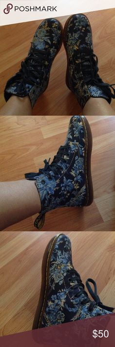 ⚡️flash sale Dr. Marten floral pattern Have you seen a prettier pair? 😍. I range from a 6-6.5 so they fit me a smidge too tight. They're a uk3 usl 5. I would say they fit a 5.5 best! Sooooo gorgeous, these are the canvas version Dr. Martens Shoes