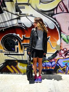 Jacket: Bar III | Sweatshirt: H&M | Skirt: H&M | Shoes: Nikes via Andi  Tennis shoes in a casual way! Sporty paired with girly!