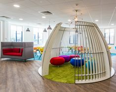 Meeting Rooms >> Cool Meeting Spaces >> This playful meeting pod is made of a Staff Lounge, Office Lounge, Fitness Style, Office Pods, Black Dining Room Chairs, Lounge Chairs, Office Fit Out, Sensory Rooms, Chairs For Rent