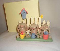 Bonnie Lynn Springhaven Lake See No Evil Bunny 3 Bunnies Rabbit Figurine | eBay