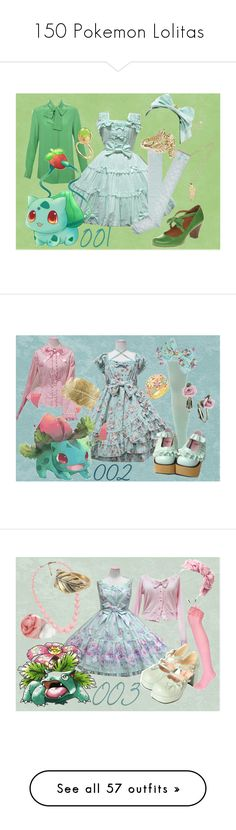 """150 Pokemon Lolitas"" by meiki ❤ liked on Polyvore featuring Chloé, Jennifer Meyer Jewelry, Reiss, Baccarat, lolita, lolita fashion, bulbasaur, pokemon, We Love Colors and Coach"