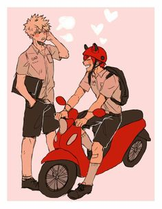 """""""Bakugou, I found you!! Wanna ride?"""" """"Kirishima.....uh- sure. But your gonna have to take that dopey helmet off..."""""""