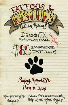 animal shelter fundraising ideas | Tattoos for Rescues