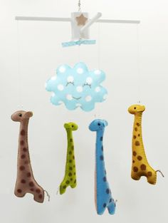 Adore this custom mobile. For one of my future grandbabies. Felt Giraffe, Giraffe Nursery, Mobiles, Baby Crib Mobile, Baby Cribs, My Baby Girl, Baby Love, Baby Baby, Hanging Crib