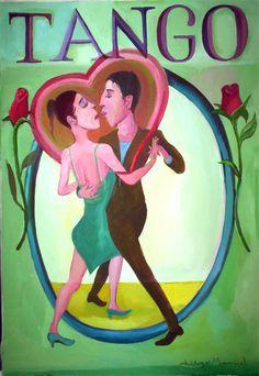 Cuadro sobre una pareja de bailarines de tango que con sus rostros forman un corazon. Painting on a pair of tango dancers with their faces to form a heart