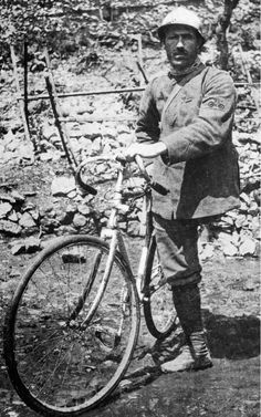 Enrico Toti lost his left leg while working for Italian railways at age 24. He tried to volunteer for the Italian army when WW1 broke out, but was denied due to his injury. Undaunted, he reached the frontline with his bicycle and managed to serve as unpaid, unregistered civilian volunteer, attached to several units. Forced to leave combat zone by MP, he returned to the front and managed to join 3rd Bersaglieri Bicycle Battalion. He was killed in the 6th Battle of Isonzo.