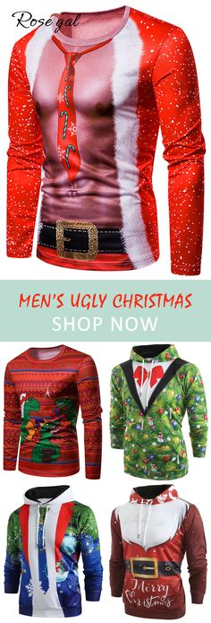 Free shipping over $45, up to 70% off, Rosegal Christmas outfits for men ugly christmas outfits ideas holiday | #rosegal #Christmas #hoodies #sweatshirts