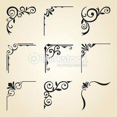 Vector illustration of decorative corner frame set. - - Vector illustration of decorative corner frame set. Stencil Patterns, Stencil Art, Stencil Designs, Stencils, Wood Burning Crafts, Wood Burning Patterns, Wood Burning Art, Watercolor Unicorn, Motifs Art Nouveau