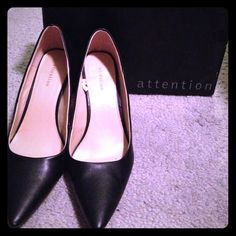 Attention Black Pointed Heels Size 8 Black with faux wooden heel and khaki interior. Still have box to go with them. Worn a couple of times. I rarely get to wear heels- dressy ones at least so I thought these hidden gems could use a good home. Heel is approx. 2.5-3inches in height. Attention Shoes Heels